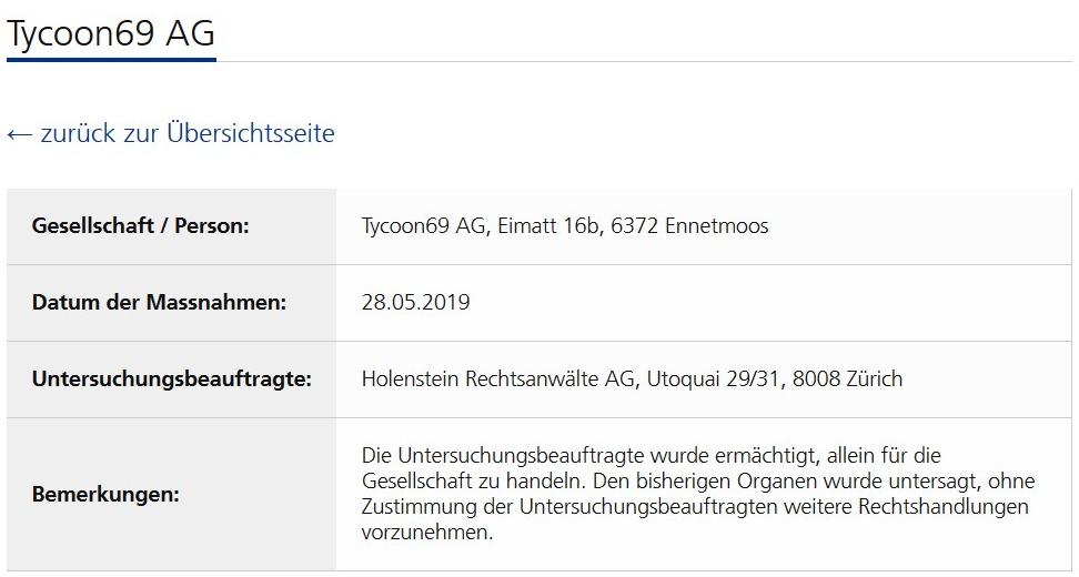Krypto-SCAM Tycoon69 Und Stefan Hostettler: Behörden